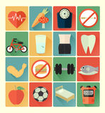 Flat icons health set Stock Photography