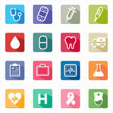 Flat icons healthcare medicine and white background Stock Photography