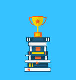Flat icons of heap textbooks and cup of award Stock Photo