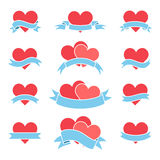 Flat icons hearts and ribbons. Set of icons hearts with ribbons. Vector illustration to Valentine`s Day Royalty Free Stock Photos