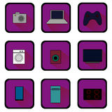 Flat icons of home appliances. Raster. Royalty Free Stock Image