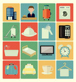 Flat icons hotel set Royalty Free Stock Photo
