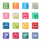 Flat icons hotel travel and white background Royalty Free Stock Images