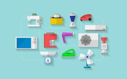 Flat icons for household appliances Royalty Free Stock Photos