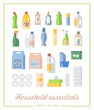 Flat icons household chemicals and paper products. Toilet paper, wipes and cleaning supplies on showcase in a flat icons Royalty Free Stock Images