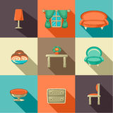 Flat icons with household objects. Stock Photos
