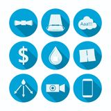 Flat icons for Ice Bucket Challenge Stock Images