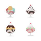 Flat icons for ice cream dessert in cup Royalty Free Stock Photography