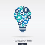 Flat icons in idea bulb shape, technology, cloud computing, digital concept. Royalty Free Stock Photo