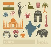 Flat icons of India. Traditional symbols of India. Simple flat icons royalty free illustration