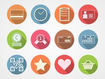 Flat icons for internet commerce. Set of colored flat circle icons for internet commerce on gray background Stock Photo