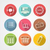 Flat icons for internet retail service Stock Images