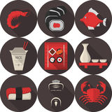 Flat icons for japanese restaurant Stock Image