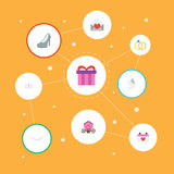 Flat Icons Jewelry, Chariot, Present And Other Vector Elements. Set Of Ceremony Flat Icons Symbols Also Includes Chariot Royalty Free Stock Images