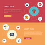 Flat Icons Keypad, Forbidden, Parasol And Other Vector Elements. Set Of Procuring Flat Icons Symbols Also Includes Virus Royalty Free Stock Photos