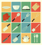 Flat icons kitchen set Stock Photography