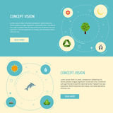 Flat Icons Landscape, Bear, Playful Fish Vector Elements. Set Of Environment Flat Icons Symbols Also Includes Flora. Flat Icons Landscape, Bear, Playful Fish Stock Image