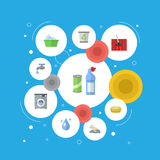 Flat Icons Laundry, Carpet Vacuuming, Means For Cleaning And Other Vector Elements.  Stock Photo