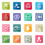Flat icons law justice and white background. This image is a vector illustration Royalty Free Stock Photo
