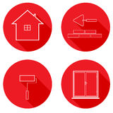 Flat icons line housing construction. Royalty Free Stock Photo