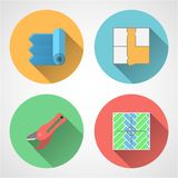 Flat icons for linoleum flooring service Royalty Free Stock Photo