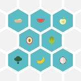 Flat Icons Litchi, Praties, Cabbage And Other Vector Elements. Set Of  Flat Icons Symbols Also Includes Jungle, Melo. Flat Icons Litchi, Praties, Cabbage And Stock Photos