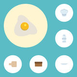 Flat Icons Loaf, Dish, Chef Hat And Other Vector Elements. Set Of Food Flat Icons  Royalty Free Stock Images