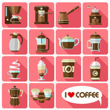 Flat icons with long shadow of coffee Stock Photography