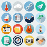 Flat Icons with long shadow, set 6 Stock Photo