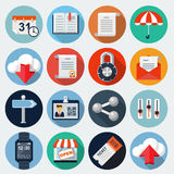 Flat Icons with long shadow, set 7. Vector web icons , eps 10 Stock Illustration
