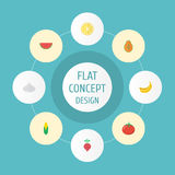 Flat Icons Maize, Lime, Jungle Fruit And Other Vector Elements. Set Of Berry Flat Icons Symbols Also Includes Watermelon vector illustration
