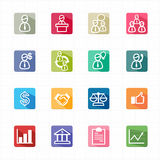 Flat icons management business finance and white background Stock Photography
