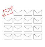 Flat icons of messages with one important message isolated on wh Royalty Free Stock Photography