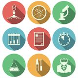 Flat icons for microbiology. Set of colored circle icons with white silhouette elements of microbiology on white background Stock Photos