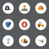 Flat Icons Mitten, Roll Meter, Tractor And Other Vector Elements. Set Of Construction Flat Icons Symbols Also Includes. Flat Icons Mitten, Roll Meter, Tractor Stock Photography