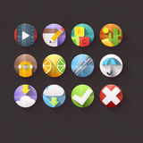 Flat Icons for mobile and web applications Set 4. Textured Flat Icons for mobile and web applications Set 4 Stock Photography