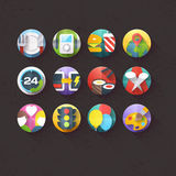 Flat Icons for mobile and web applications Set 5. Textured Flat Icons for mobile and web applications Set 5 Royalty Free Stock Photography