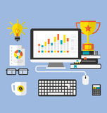 Flat Icons of Modern Designer Desktop Royalty Free Stock Photos