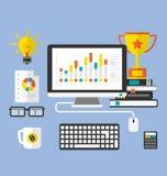 Flat Icons of Modern Designer Desktop Royalty Free Stock Photos