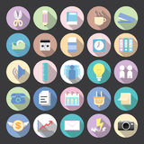Flat icons modern vector collection. With long shadow effect in stylish colors of business elements, office equipment and marketing items Royalty Free Stock Images