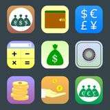 Flat icons, monetary topics for web Royalty Free Stock Image