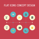 Flat Icons Money Box, Verdict, Teller Machine And Other Vector Elements. Set Of Finance Flat Icons Symbols Also Includes Stock Photo