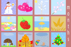 Flat icons of months Stock Photography