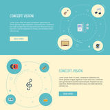 Flat Icons Mp3 Player, Acoustic, Fiddle And Other Vector Elements. Set Of Studio Flat Icons Symbols Also Includes Drum Stock Photo