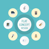 Flat Icons Mp3 Player, Quaver, Karaoke And Other Vector Elements. Set Of Studio Flat Icons Symbols Also Includes. Flat Icons Mp3 Player, Quaver, Karaoke And Royalty Free Stock Photography