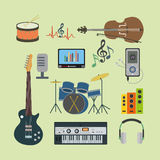Flat icons music set. Illustration of music instrument in flat style Stock Images