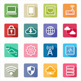 Flat icons network cloud computing and white background Royalty Free Stock Image