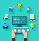Flat Icons and Objects for High Schoo Royalty Free Stock Photos