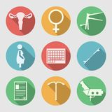 Flat icons for Obstetrics and Gynecology. Set of colored circle flat icons with white silhouette symbols for Obstetrics and Gynecology on gray background Stock Photos