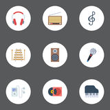 Flat Icons Octave Keyboard, Quaver, Mp3 Player And Other Vector Elements. Set Of Audio Flat Icons Symbols Also Includes Royalty Free Stock Photography